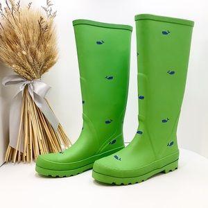 {J Crew}Lime Green Nautical Wellie Tall Rain Boots